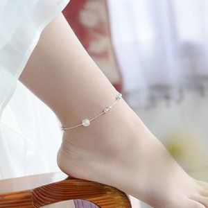 NEW 925 Sterling Silver Simple Bead Anklet
